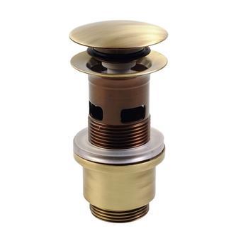 Verschließbare Ablaufgarnitur für Waschtische mit Überlauf, H. 40-64mm bronze