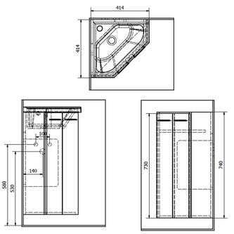 ZOJA Eck-Unterschrank 39x74x39cm, weiß