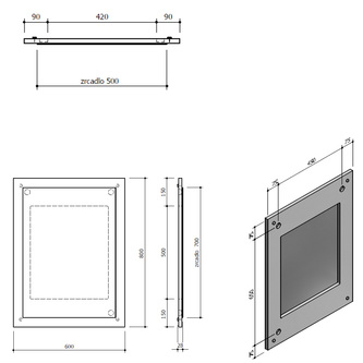 NIROX Spiegel mit dem Rahmen 600x800x28mm, Silbereiche (LA610)