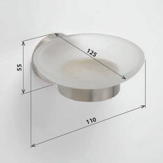 X-STEEL Seifenschale Glas, gebürsteter Edelstahl