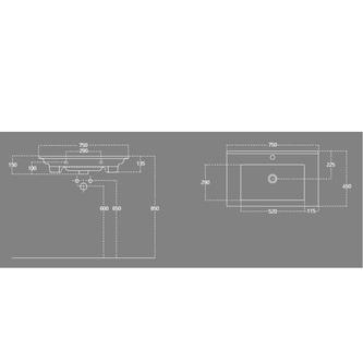 ZUNO 75 Waschtisch 75x45cm