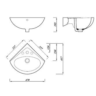 LUIGI Keramik-Waschtisch für die Ecke, 34x34cm