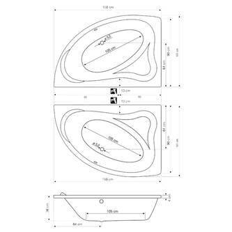 ORAVA Badewanne 150x90x38cm ohne Füße, links, weiß