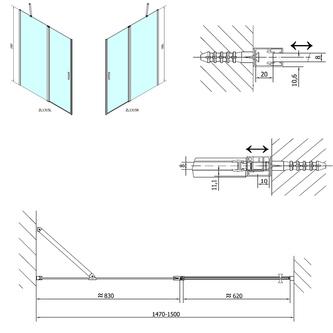 ZOOM LINE Duschtür 1500mm, Klarglas