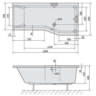 VERSYS R asymmetrische Badewanne 160x84x70cm, rechts, weiß