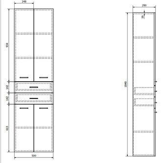 ZOJA/KERAMIA FRESH Hochschrank 50x184x29cm, weiß, Schubladen