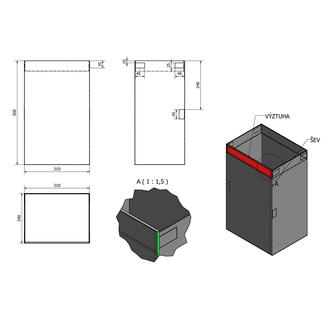 Stoff-Wäschekorb 310x500x230mm, Klett, Schwarz