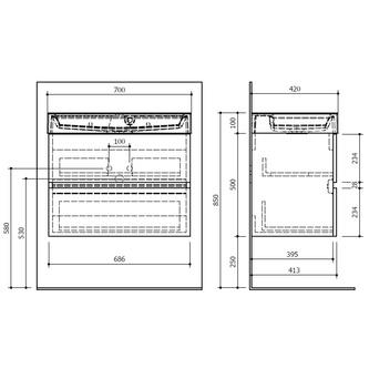 LARGO Unterschrank 67x50x41cm, weiß