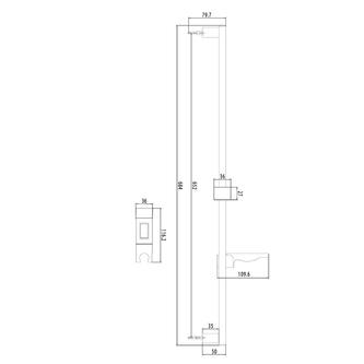 Duschstange mit Seifenschale, 680mm, Chrom