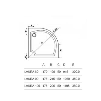LAURA 90 Duschwanne, Viertelkreis 90x90x4cm, R500