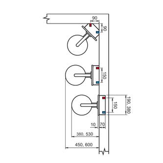 FLAT Thermostat Duschpaneel 210x1390mm, Aluminium