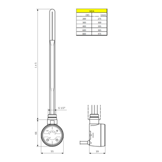 MOA E-Patrone mit Thermostat, 400W, Chrom