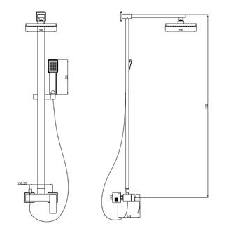 GINKO Duschsäule mit Armatur,1183mm,  Chrom