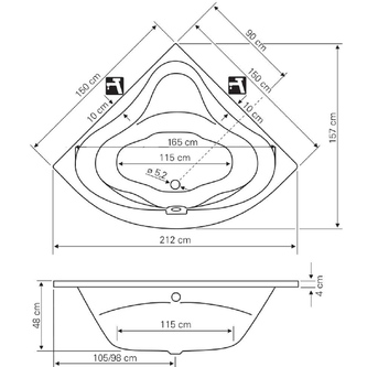 DUNJA Eckbadewanne 150x150x48 cm, weiss