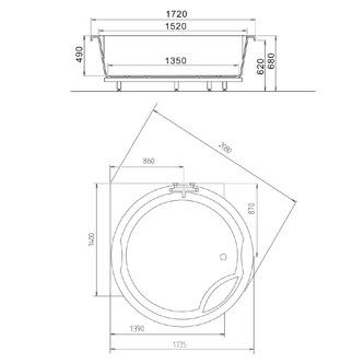 ROYAL CORNER Badewanne mit Rahmengestell 172x172x49cm, weiß