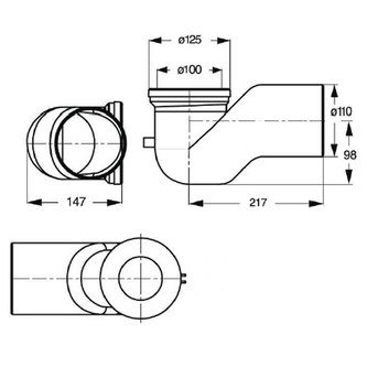 WC-Bogen 90°, D. 110mm, ABS/weiß
