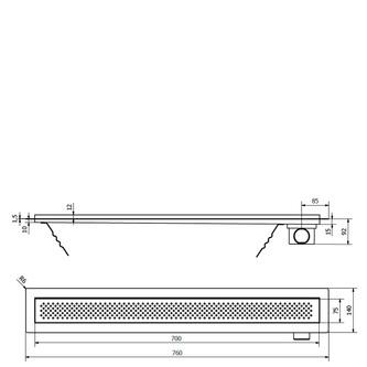 KROKUS Duschrinne mit Rost 760x140x92 mm, Edelstahl