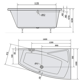 Raumspar Badewanne EVIA 160x100x47cm, rechts, weiß