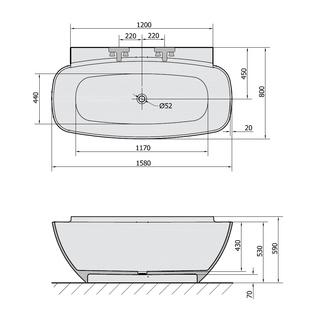 NIGRA Freistehende Gussmarmor-Badewanne 158x80x45cm, weiß