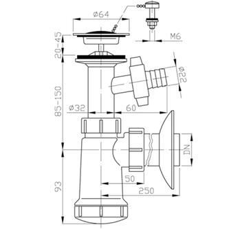Waschtisch-Siphon,Edelstahl Auslass 5/4', Abfluss 40mm mit Abzweig, Kunstsfoff