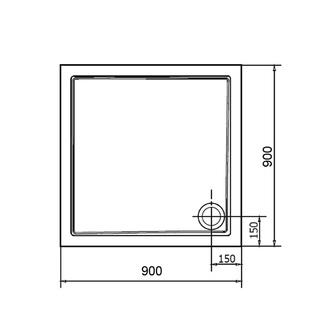 AURA Gussmarmor-Duschwanne, Quadrat 90x90x4cm,