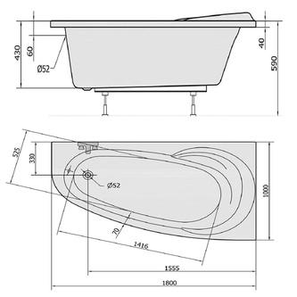 Raumspar Badewanne NAOS 180x100x43cm, rechts, weiß