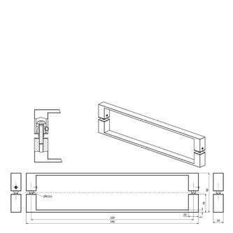 LUCIS LINE Haltegriff, eckig, 340x20x36mm, Chrom