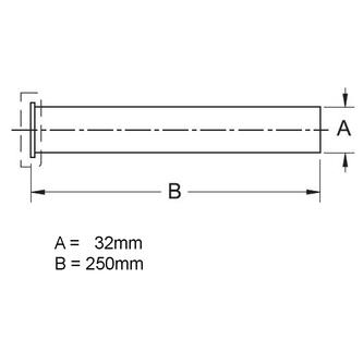 Siphon-Verlängerungsrohr mit Flansch, 32/250mm, Chrom