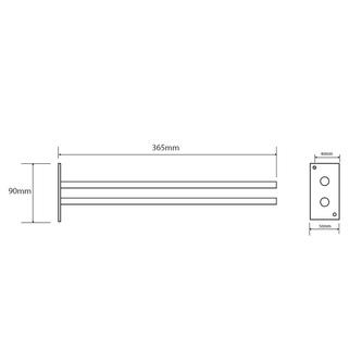 SMART 2-Fach Handtuchhalter fest 365mm, Chrom