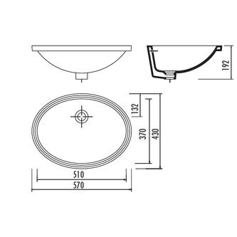 Keramik-Waschtisch 57x43cm, Unterbau