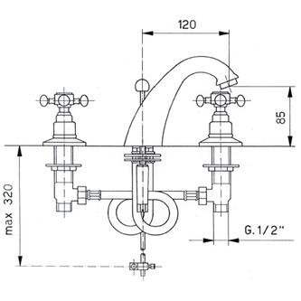 ANTEA 3-Loch - Waschtischarmatur mit Ablaufgarnitur 85mm Roségold