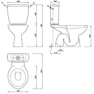 MIGUEL Kombi-WC mit Spülkasten inkl. Spülgarnitur, Abgang senkrecht (FS1PKW39)