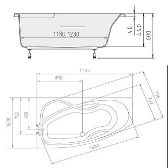 MAMBA 170 L Badewanne mit Füßen 170x100x44cm, links,weiß