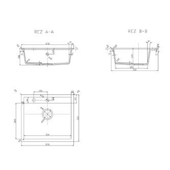 Granit-Einbauspüle, 1 Becken, 57x51cm, weiß