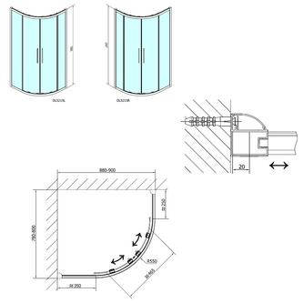 LUCIS LINE Duschabtrennung viertelkreis 900x800mm, links/rechts