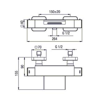DIMY Thermostat- Wannenarmatur, Kaskade, Chrom,