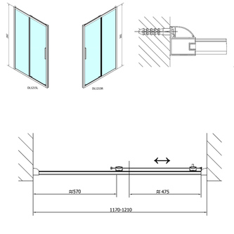 LUCIS LINE Duschtür 1200mm, Klarglas