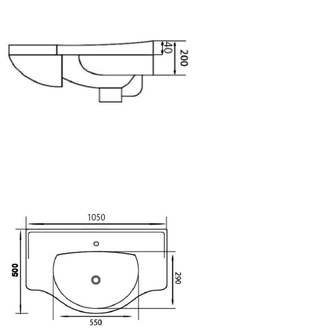 GALA Keramik-Waschtisch 105x50cm, für Badmöbel