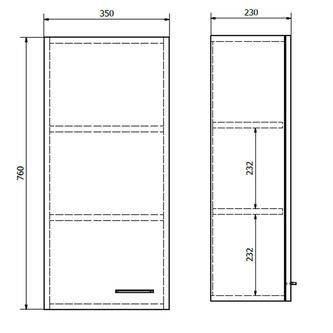 ZOJA/KERAMIA FRESH Oberschrank 35x76x23cm, links, mali wenge