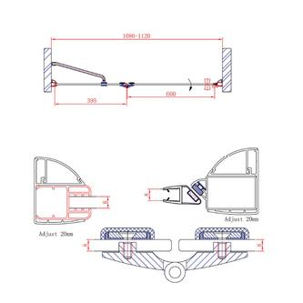 LEGRO Duschtür für Nische 1100mm, Klarglas