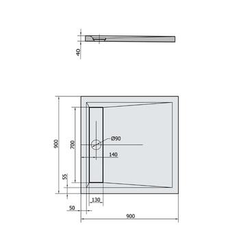 ARENA Mineralguß-Duschwanne mit Rinne 90x90x4cm