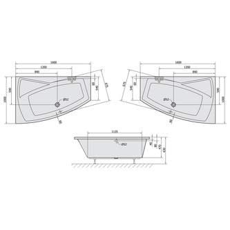 EVIA 160 L Badewanne mit Füßen 160x100x47cm, links, weiß