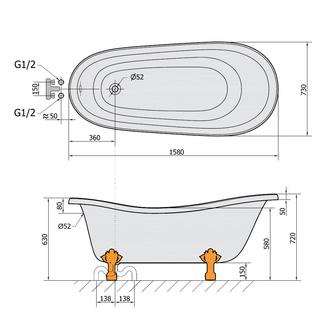 RETRO freistehende Badewanne 160x73x82cm, Füße weiß