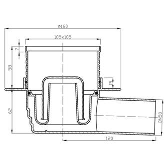 Bodeneinlauf 105x105, Ablauf waagerecht, 50mm, Edelstahlabdeckung
