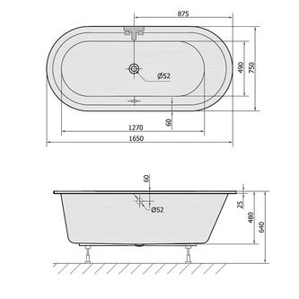 ASTRA O Ovale Badewanne mit Füßen 165x75x48cm, weiß