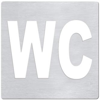WC Schild 120x120 mm, gebürsteter Edelstahl