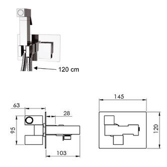 LATUS Unterputz-Armatur mit WC-Handbrause, eckig, Chrom