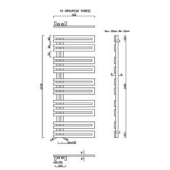 VOLGA Heizkörper 500x1238mm, gebürsteter Edelstahl