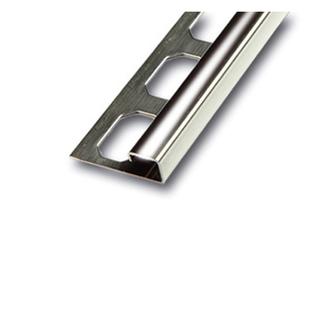 Edelstahl QUADRO Fliesenschiene, Oberfläche glänzend, 250cm lang, 10mm hoch