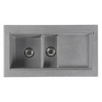 Granitspüle mit Abtropffläche und Nebenbecken 100x53,5 cm, grau